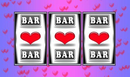 slot machine with winning symbols of hearts