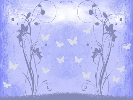 background with floral elements and butterflies. also be used for invitation card