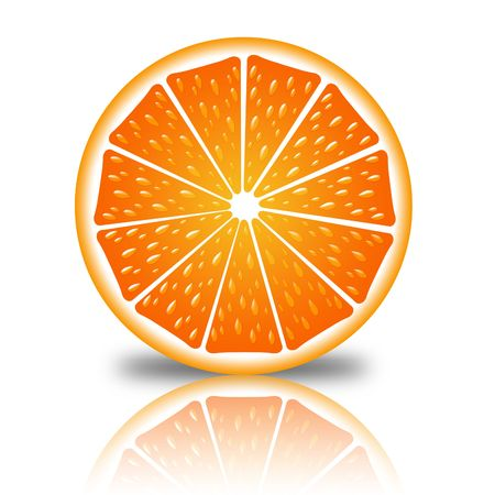 slice of orange on a white background with reflection