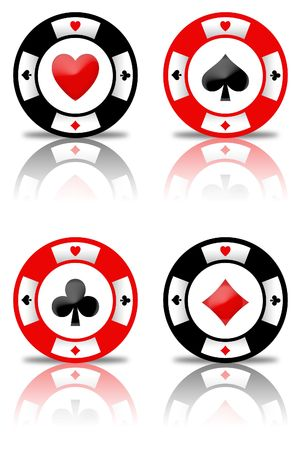 poker chips: set of chips with the symbols poker  Stock Photo