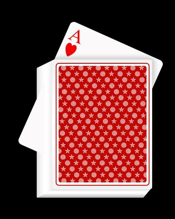 vehemence: Playing cards on a black background. ace of hearts out