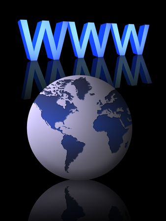 www and world globe on a white background Stock Photo - 7037575