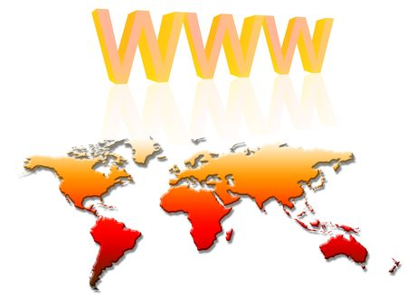 www and world map on a white background