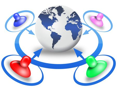 people connected in a social network around a the world Stock Photo