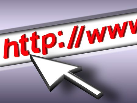arrow pointer on the browser address bar Stock Photo