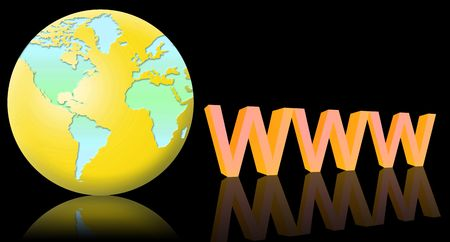 www and the world globe. black background and reflection