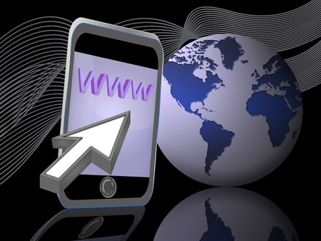 concept of accessibility to the Internet by mobile phone
