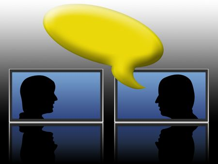 human silhouette inside the monitor. concept of instant messaging conversation photo