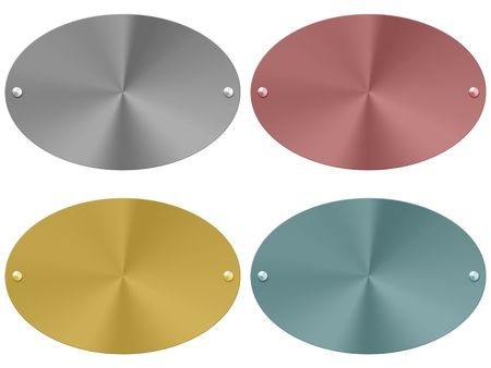 metal plates in four different colors. white background Stock Photo - 7180159