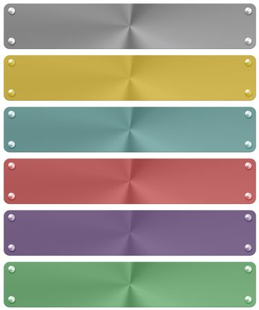 quadrant: metal plates in six different colors. white background. Stock Photo