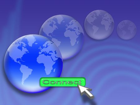 mouse pointer is on the button Connection. concept of global network photo