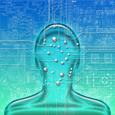 abstract illustration of human head with electronic circuit