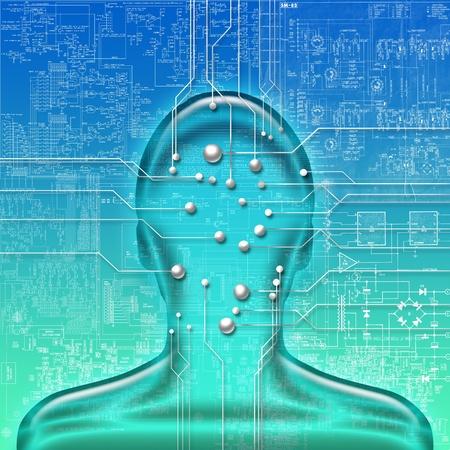 circuito electronico: Ilustraci�n abstracta de cabeza humana con el circuito electr�nico