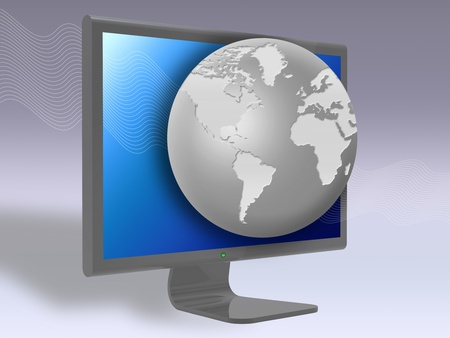 globe and LCD TV monitor. concept of three-dimensional television photo