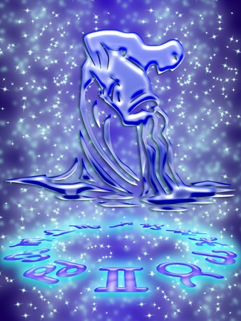 Aquarius greeting card of zodiac sign Stock Photo - 9291000