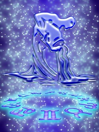 Aquarius greeting card of zodiac sign photo