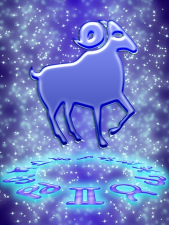 Aries greeting card of zodiac sign Stock Photo - 9287650