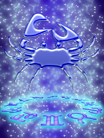 Cancer greeting card of zodiac sign Stock Photo - 9291021