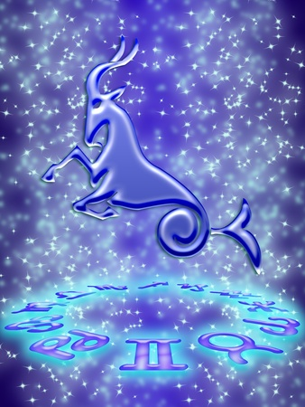 Capricorn greeting card of zodiac sign photo