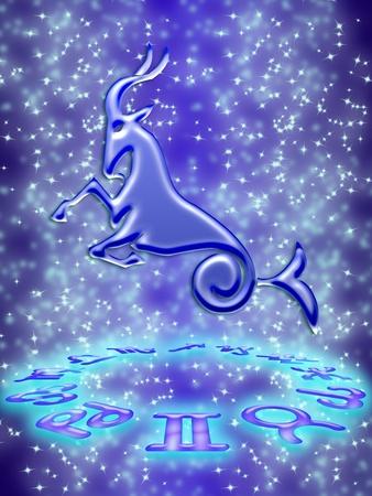 Capricorn greeting card of zodiac sign Stock Photo - 9287652