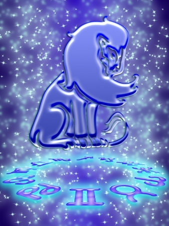 Leo greeting card of zodiac sign Stock Photo - 9287648
