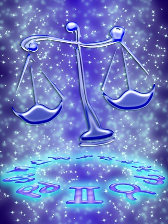 Libra greeting card of zodiac sign Stock Photo - 9290999