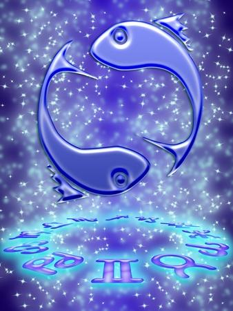 destin: Carte de voeux Pisces du signe du zodiaque