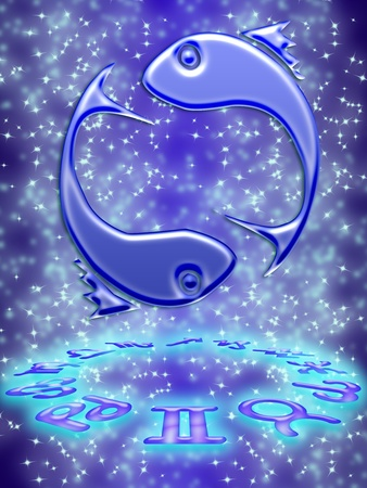 Pisces greeting card of zodiac sign Stock Photo - 9287649