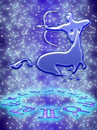 Sagittarius greeting card of zodiac sign Stock Photo - 9287664