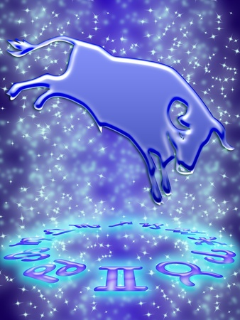 Taurus greeting card of zodiac sign Stock Photo - 9287647
