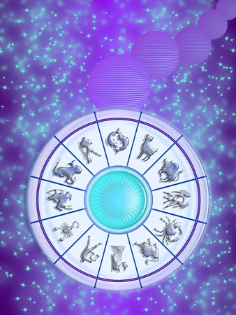 Zodiac wheel isolated on the sky, stars and planets stylized. the twelve signs of the zodiac photo