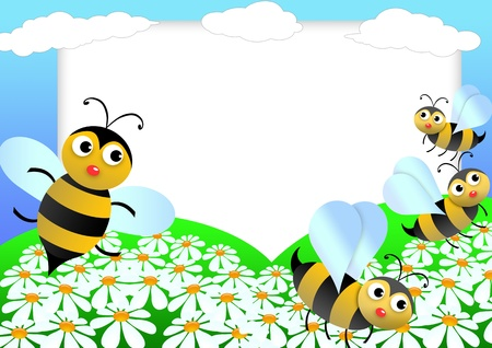 Kid scrapbook with bees and flowers - illustration Photo frames for children  illustration