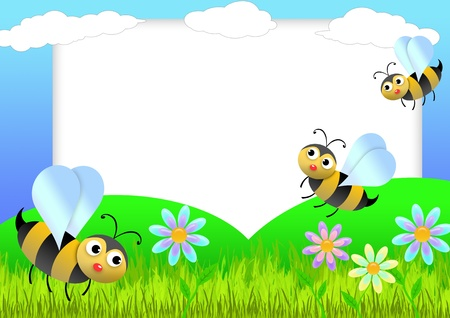 Kid scrapbook with bees and flowers -illustration  Photo frames for children