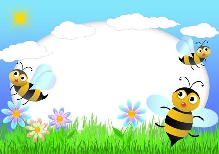 abeja caricatura: Bloc de notas de ni�o con las abejas y flores-ilustraci�n foto armazones para ni�os