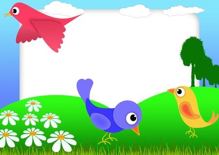Kid scrapbook with birds and flowers - illustration Photo frames for children  Reklamní fotografie