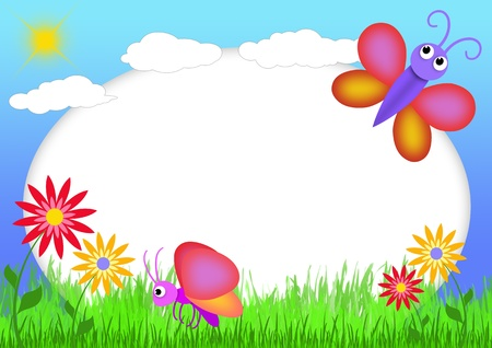 蝶と花を持つ子供のスクラップ ブック-イラスト フォト フレーム子供のため