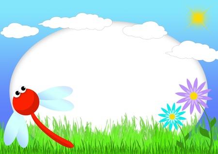 Kid Scrapbook mit Libelle und Blumen - Abbildung Bilderrahmen für Kinder