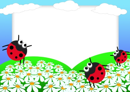 Kid scrapbook with ladybug and flowers - illustration Photo frames for children illustration