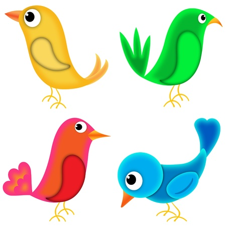 four birds drawn in cartoon style. white background for easy use or cropping photo