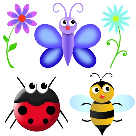 flowers and insects in the garden. white background for easy use or cropping Stock Photo