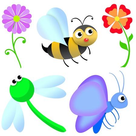 cartoon butterfly: flores e insectos en el jard�n. fondo blanco para uso f�cil o recortar
