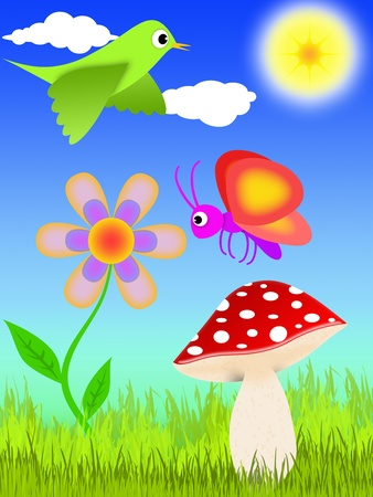 cartoon-style illustration of a lawn with mushroom, flower, bird and butterfly illustration