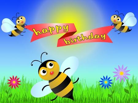 Happy Birthday Greeting Card To Draw In Cartoon Style Stock Photo
