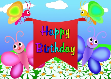 happy birthday greeting card to draw in cartoon style photo