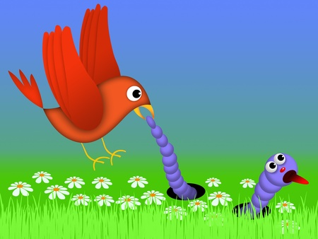 bird tries to catch caterpillar who seeks to escape. illustration cartoon style Stock Photo