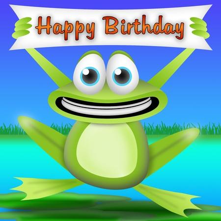 smiling frog: rana de dibujos animados con una pancarta de feliz cumplea�os. tarjeta de felicitaci�n para ni�os Foto de archivo