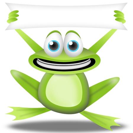 rana caricatura: rana de dibujos animados con banner. colecci�n de recortes de la tarjeta de felicitaci�n para los ni�os. Banner libre para agregar texto