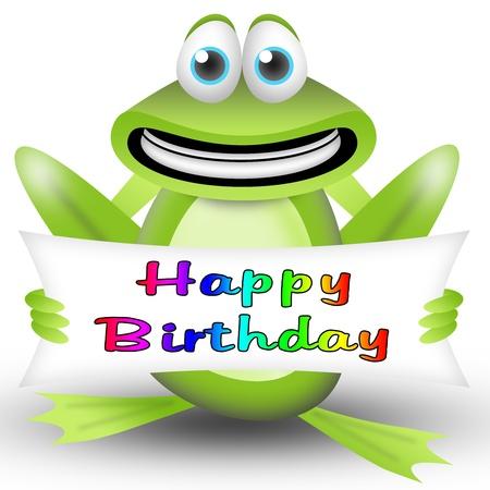 rana de dibujos animados con una pancarta de feliz cumpleaños. tarjeta de felicitación para niños Foto de archivo - 9497272
