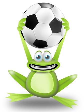 frog calls to play football with the ball in the hands Stock Photo