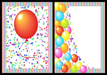 happy birthday greeting card with balloon and star. includes the front and back of the card.